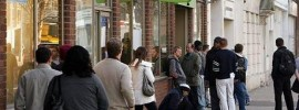 A queue forms outside the Job Centre