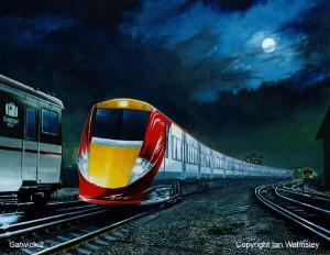Gatwick Express painting by Ian Walmsley
