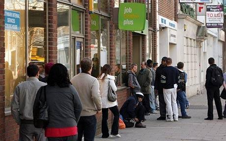 Mass Unemployment - A queue forms outside the Job Centre