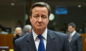 David Cameron frowning