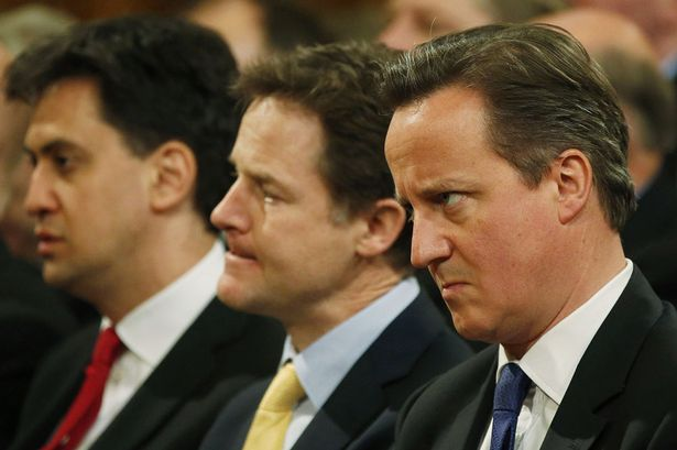David Cameron Nick Clegg and Ed Miliband