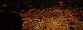 Light pollution: London at night from the air